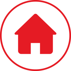 Circular icon with a house in the centre