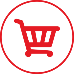 Circular icon with a shopping cart in the centre
