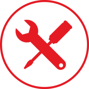 Circular icon with tools in the centre