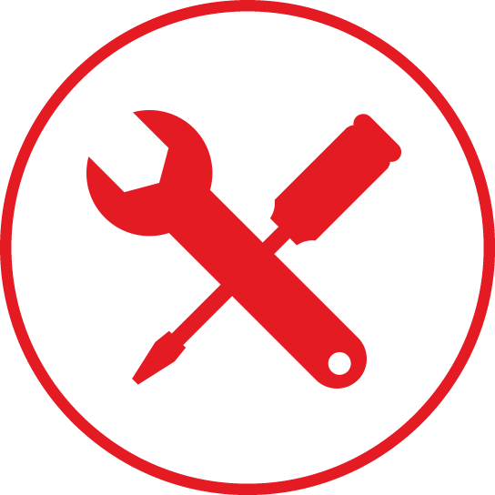 Circular icon with a tools in the centre