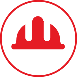 Circular icon with a hardhat in the centre