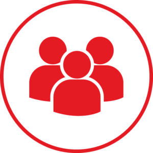 Circular icon with a group icon in the centre