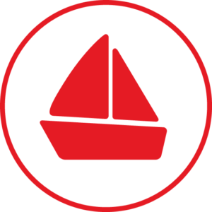 Circular icon with a sailboat in the centre