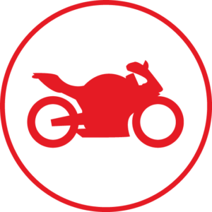 Circular icon with a motorcycle in the centre
