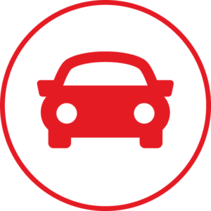 Circular icon with a car in the centre