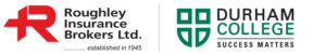 Roughley Insurance and Durham College logo side by side