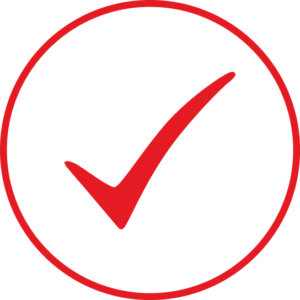 Circular icon with a check mark in the centre