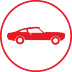 Red circle icon with classic a car