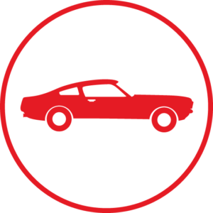Circular icon with a classic car in the centre