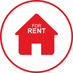 Circular icon with a for rent home icon in the centre