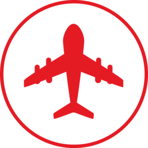 Circular icon with a plane in the centre