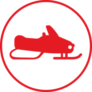 Circular icon with a snowmobile in the centre